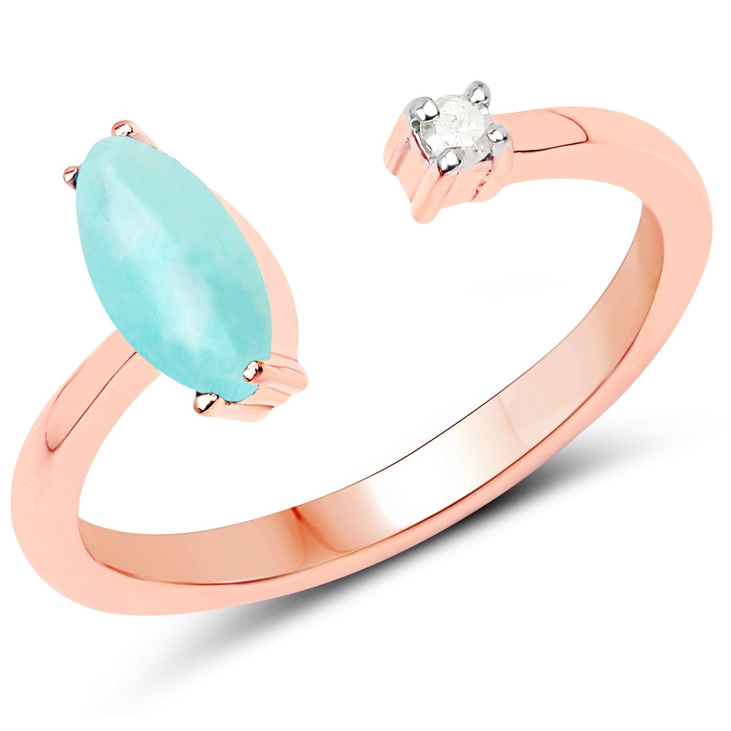 LoveHuang 0.53 Carats Genuine Amazonite and White Diamond (I-J, I2-I3) Ring Solid .925 Sterling Silver With 18KT Rose Gold Plating