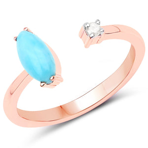 LoveHuang 0.39 Carats Genuine Larimar and White Diamond (I-J, I2-I3) Ring Solid .925 Sterling Silver With 18KT Rose Gold Plating