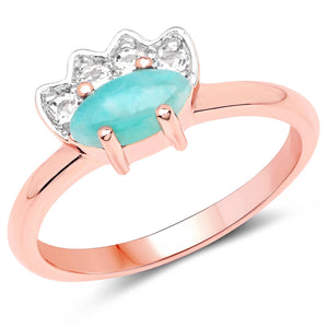 LoveHuang 0.53 Carats Genuine Amazonite and White Topaz Ring Solid .925 Sterling Silver With 18KT Rose Gold Plating