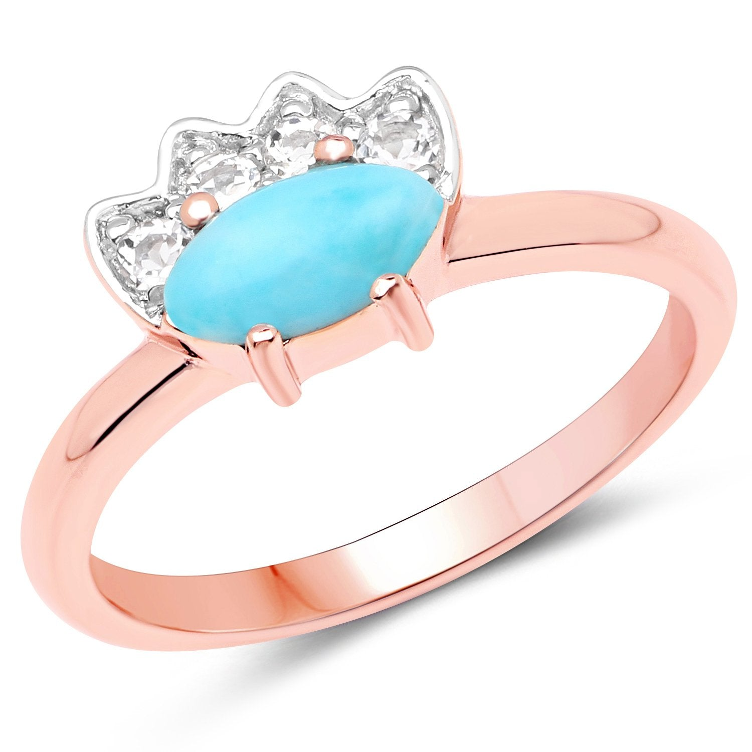 LoveHuang 0.51 Carats Genuine Larimar and White Topaz Ring Solid .925 Sterling Silver With 18KT Rose Gold Plating