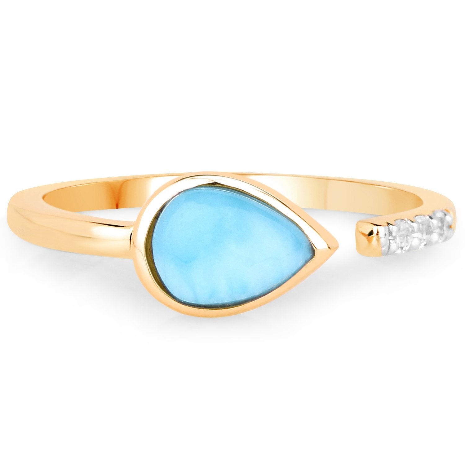 LoveHuang 1.26 Carats Genuine Larimar and White Topaz Ring Solid .925 Sterling Silver With 18KT Yellow Gold Plating