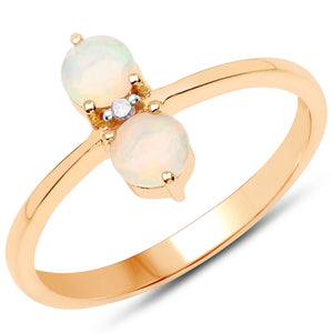 LoveHuang 0.32 Carats Genuine Ethiopian Opal and White Diamond (I-J, I2-I3) Twin Ring Solid .925 Sterling Silver With 18KT Yellow Gold Plating
