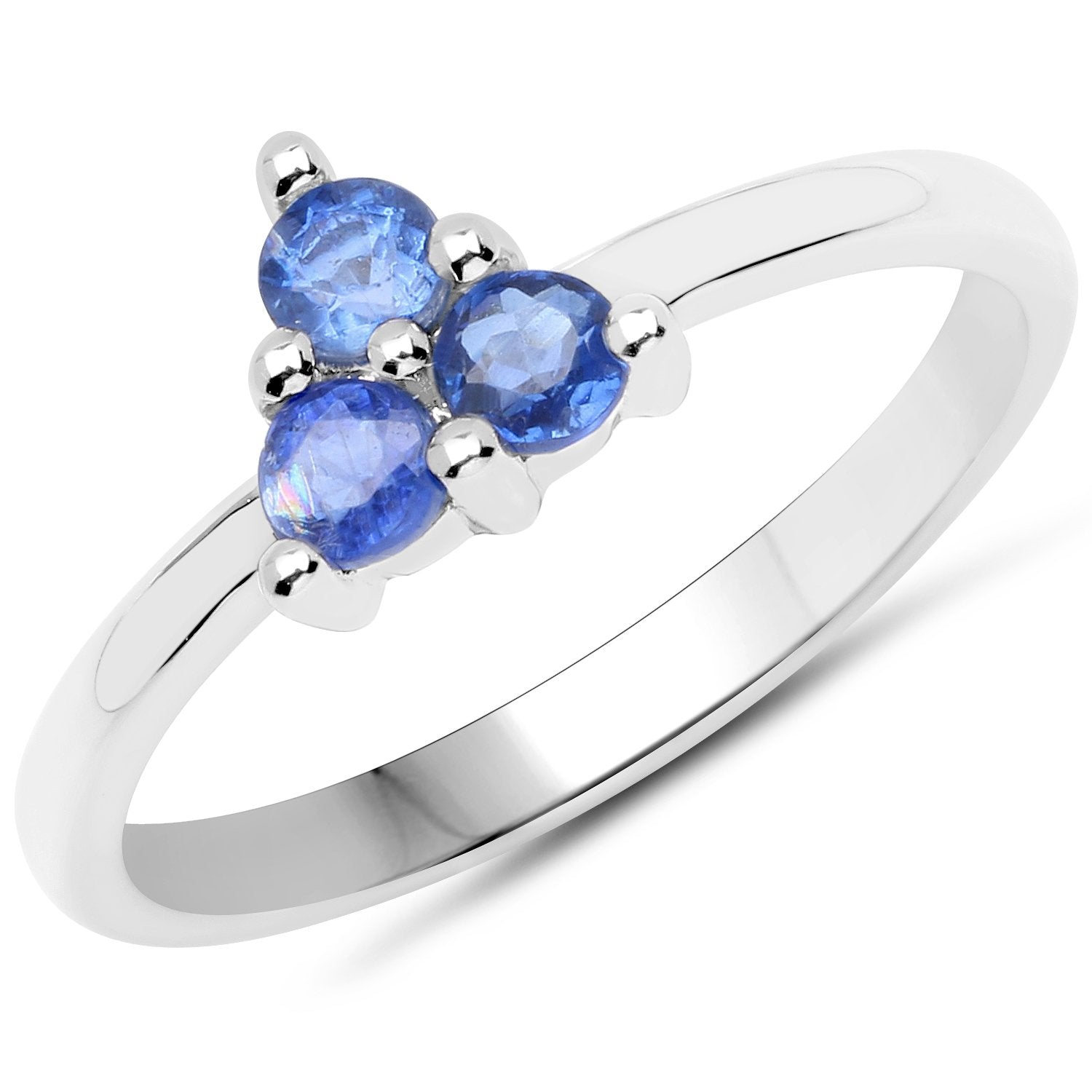 LoveHuang 0.49 Carats Genuine Kyanite Trio Ring Solid .925 Sterling Silver With Rhodium Plating