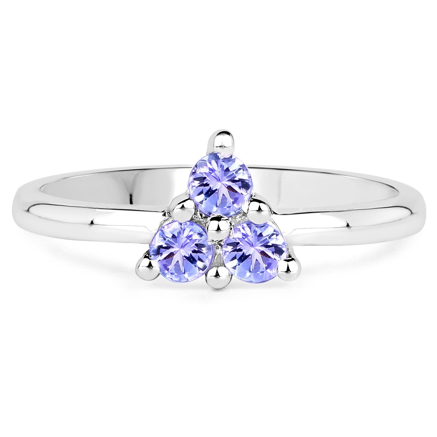 LoveHuang 0.27 Carats Genuine Tanzanite Trio Ring Solid .925 Sterling Silver With Rhodium Plating