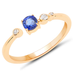 LoveHuang 0.35 Carats Genuine Kyanite and White Topaz Ring Solid .925 Sterling Silver With 18KT Yellow Gold Plating