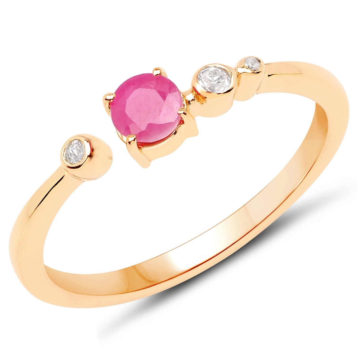 LoveHuang 0.33 Carats Genuine Ruby and White Topaz Ring Solid .925 Sterling Silver With 18KT Yellow Gold Plating