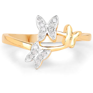 LoveHuang 0.07 Carats Genuine White Diamond (I-J, I2-I3) Butterfly Trio Ring Solid .925 Sterling Silver With 18KT Yellow Gold Plating