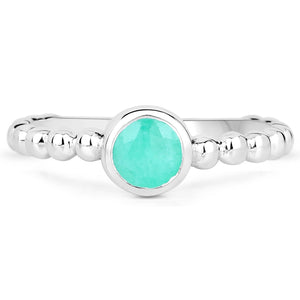 LoveHuang 0.39 Carats Genuine Emerald Stacking Ring Solid .925 Sterling Silver With Rhodium Plating