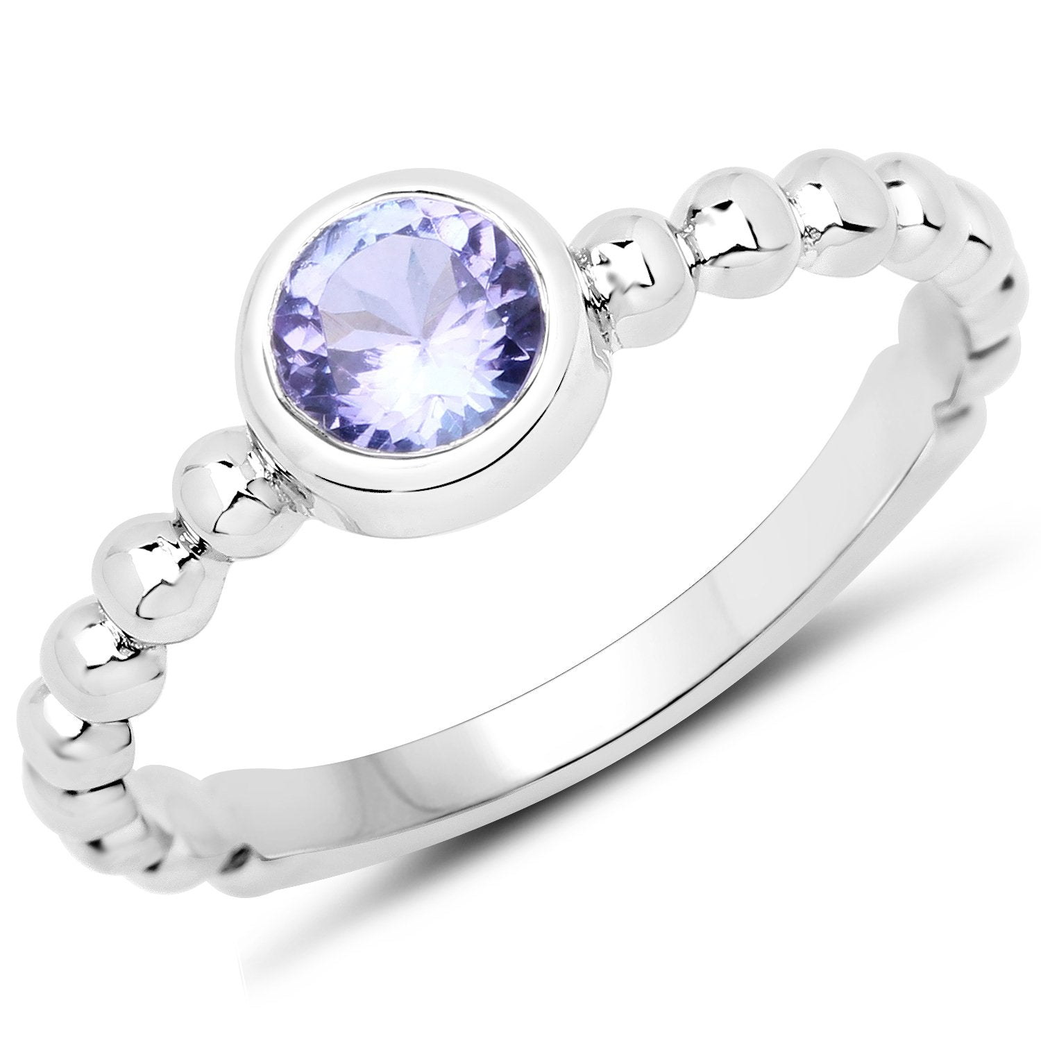 LoveHuang 0.42 Carats Genuine Tanzanite Stacking Ring Solid .925 Sterling Silver With Rhodium Plating
