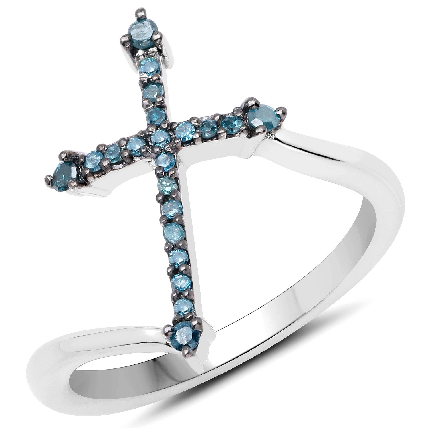 LoveHuang 0.16 Carats Genuine Blue Diamond (I-J, I2-I3) Cross Ring Solid .925 Sterling Silver With Rhodium Plating
