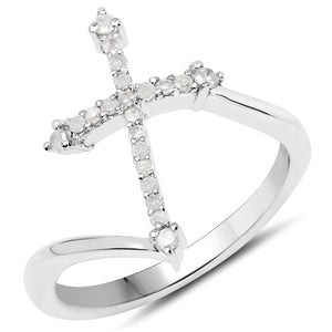 LoveHuang 0.16 Carats Genuine White Diamond (I-J, I2-I3) Cross Ring Solid .925 Sterling Silver With Rhodium Plating