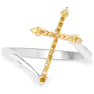 LoveHuang 0.16 Carats Genuine Yellow Diamond (I-J, I2-I3) Cross Ring Solid .925 Sterling Silver With Rhodium Plating
