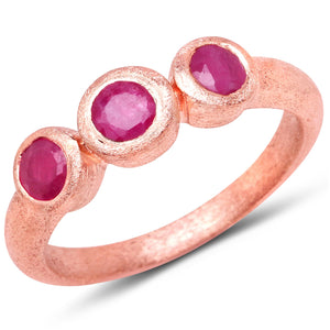 LoveHuang 0.68 Carats Genuine Ruby Three Stone Matte Finish Ring Solid .925 Sterling Silver With 18KT Rose Gold Plating