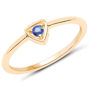 LoveHuang 0.06 Carats Genuine Kyanite Stacking Ring Solid .925 Sterling Silver With 18KT Yellow Gold Plating