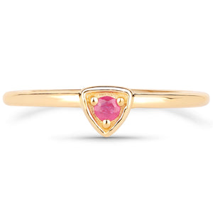 LoveHuang 0.07 Carats Genuine Ruby Stacking Ring Solid .925 Sterling Silver With 18KT Yellow Gold Plating