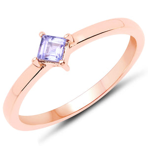 LoveHuang 0.14 Carats Genuine Tanzanite Stacking Ring Solid .925 Sterling Silver With 18KT Rose Gold Plating