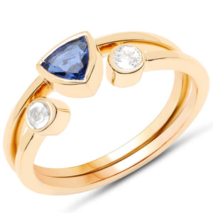 LoveHuang 0.64 Carats Genuine Kyanite and White Topaz Stacking Rings Solid .925 Sterling Silver With 18KT Yellow Gold Plating, 2 Separate Rings