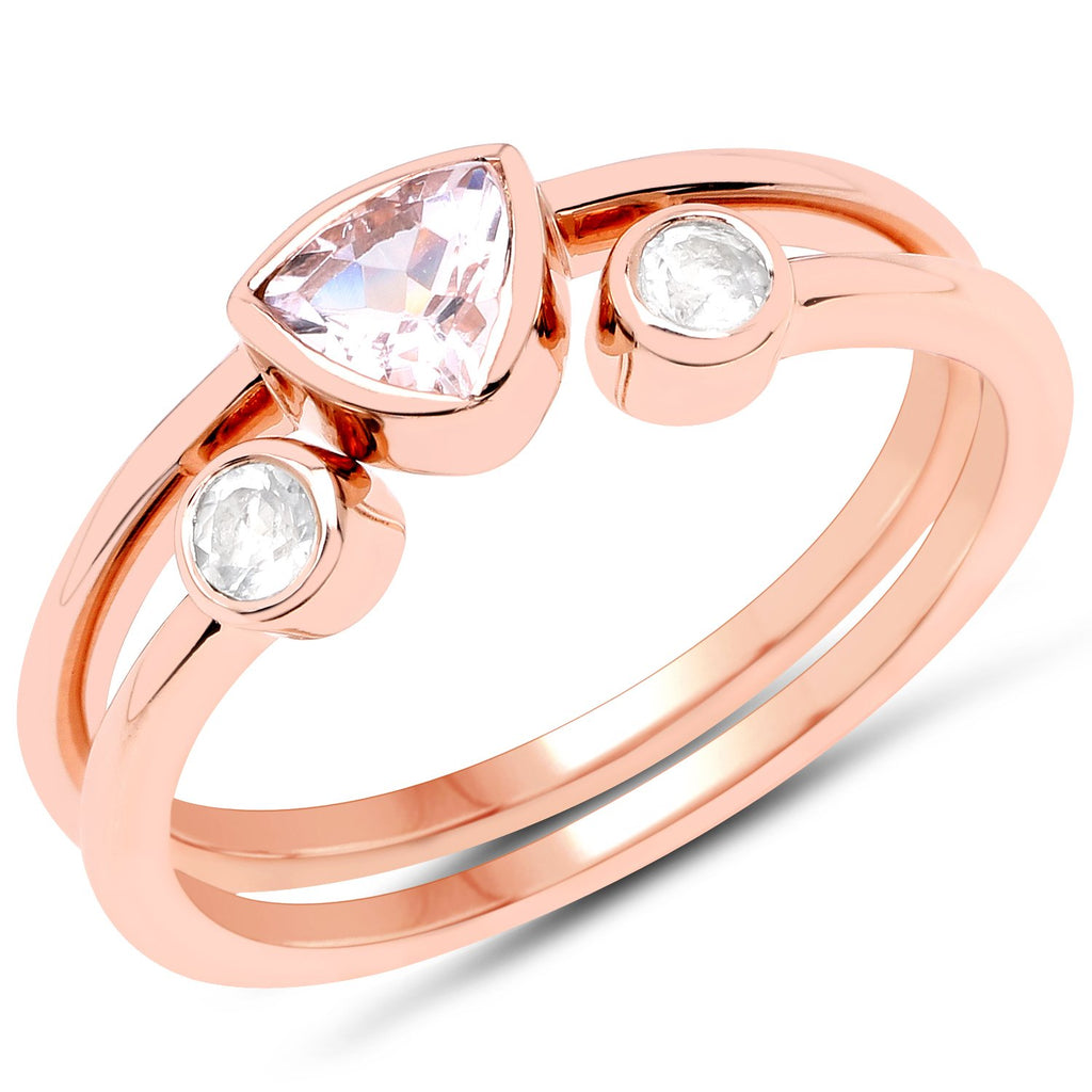 LoveHuang 0.46 Carats Genuine Morganite and White Topaz Stacking Ring Set Solid .925 Sterling Silver With 18KT Rose Gold Plating