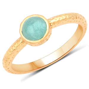 LoveHuang 0.54 Carats Genuine Amazonite Stacking Ring Solid .925 Sterling Silver With 18KT Yellow Gold Plating, Matte Finish