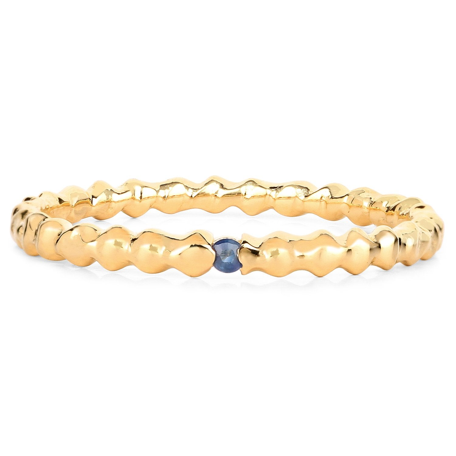 LoveHuang 0.03 Carats Genuine Blue Sapphire Stacking Ring Solid .925 Sterling Silver With 18KT Yellow Gold Plating