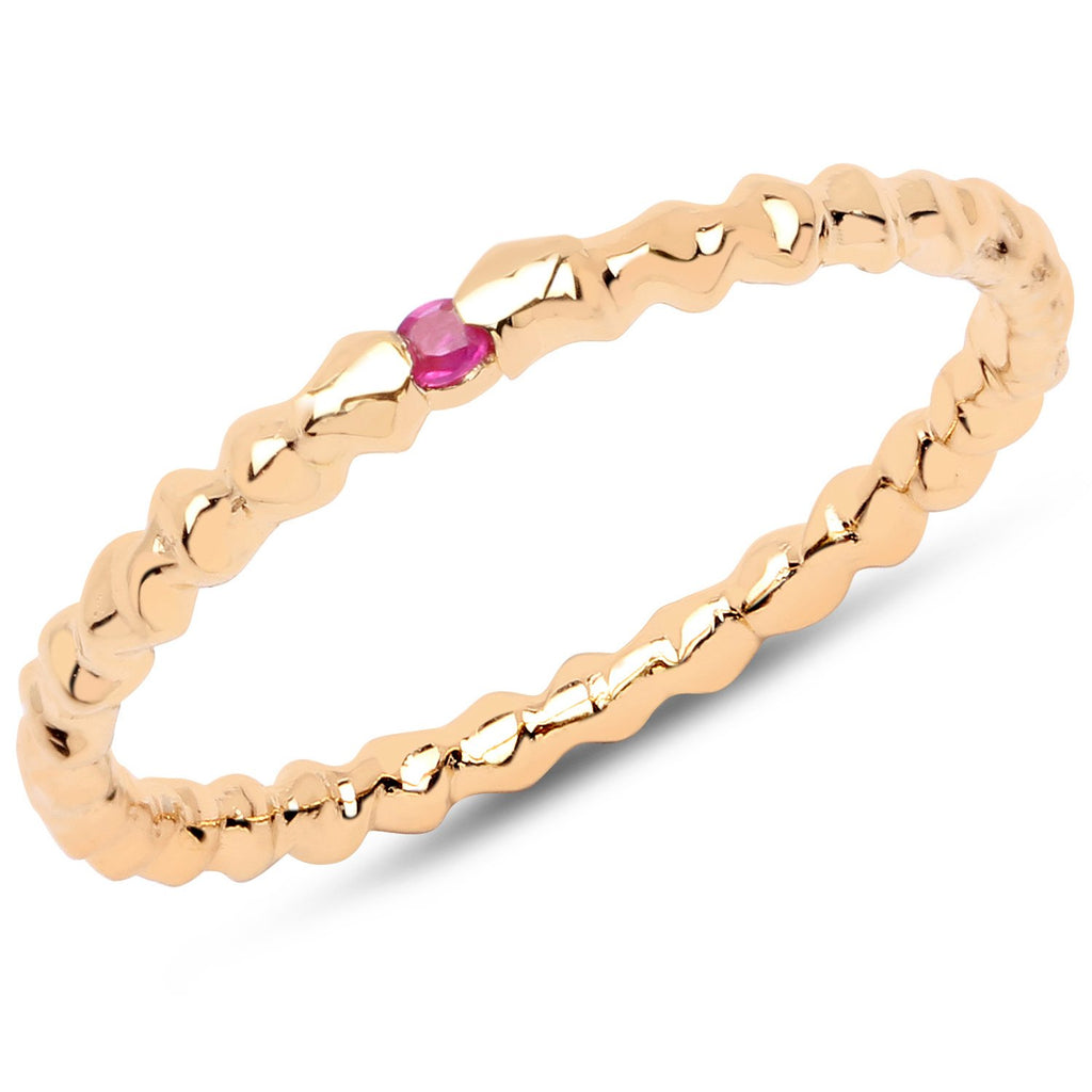 LoveHuang 0.02 Carats Genuine Ruby Stacking Ring Solid .925 Sterling Silver With 18KT Yellow Gold Plating