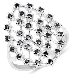 LoveHuang 0.58 Carats Genuine Black Spinel Web Ring Solid .925 Sterling Silver With Rhodium Plating