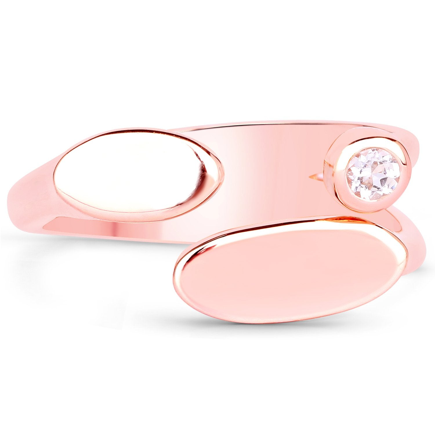 LoveHuang 0.05 Carats Genuine Morganite Minimalist Ring Solid .925 Sterling Silver With 18KT Rose Gold Plating