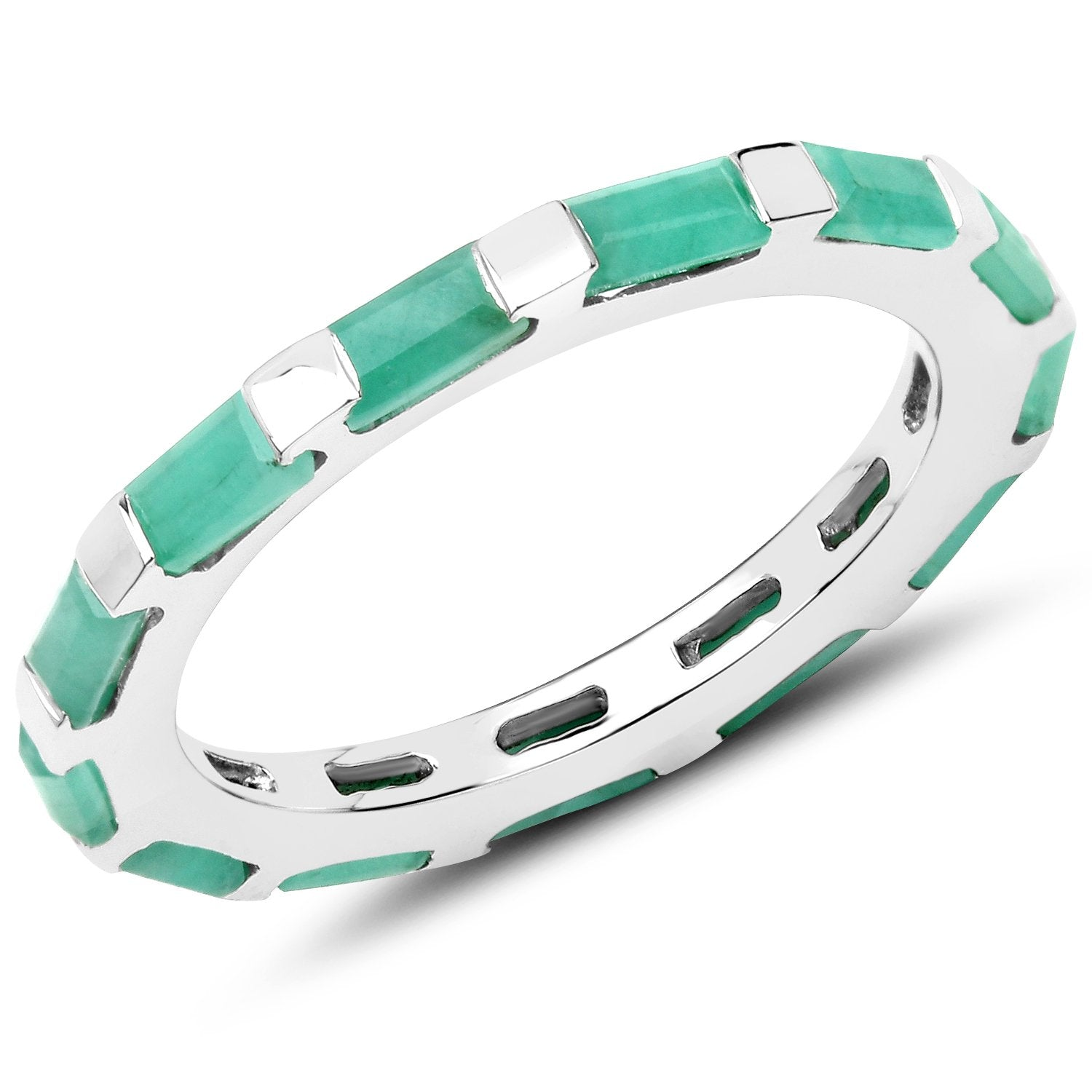 LoveHuang 1.76 Carats Genuine Emerald Eternity Ring Solid .925 Sterling Silver With Rhodium Plating
