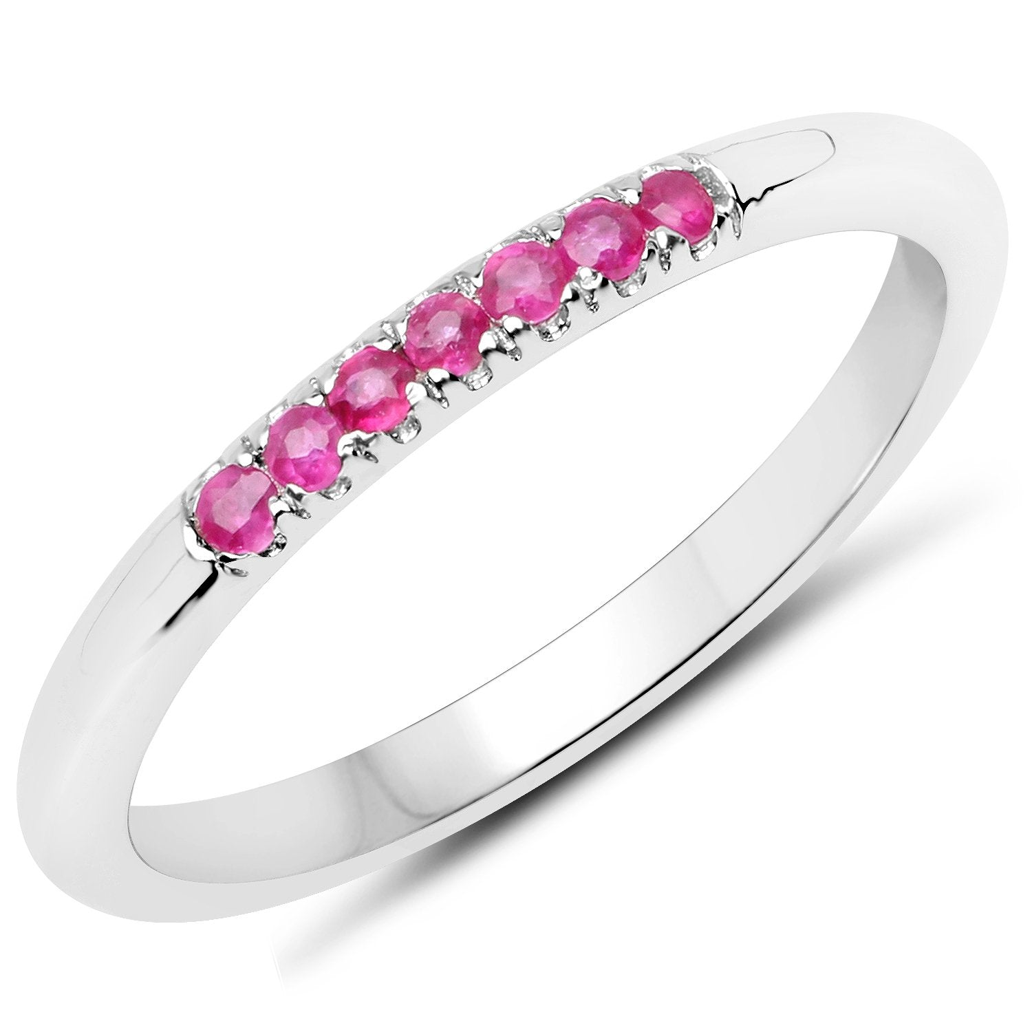 LoveHuang 0.12 Carats Genuine Ruby Stacking Ring Solid .925 Sterling Silver With Rhodium Plating