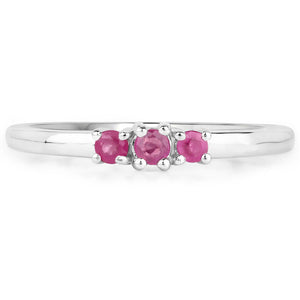 LoveHuang 0.16 Carats Genuine Ruby Stacking Ring Solid .925 Sterling Silver With Rhodium Plating