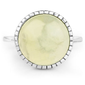 LoveHuang 6.84 Carats Genuine Prehnite Ring Solid .925 Sterling Silver With Rhodium Plating
