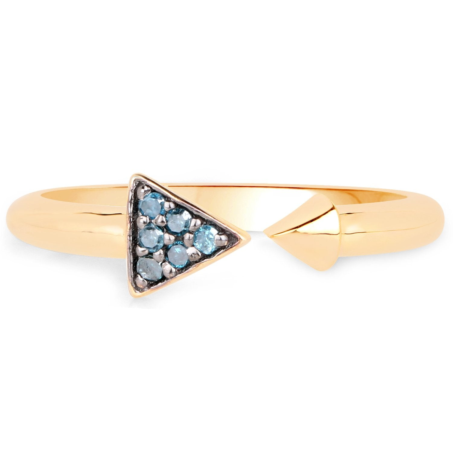 LoveHuang 0.04 Carats Genuine Blue Diamond (I-J, I2-I3) Arrow Ring Solid .925 Sterling Silver With 18KT Yellow Gold Plating