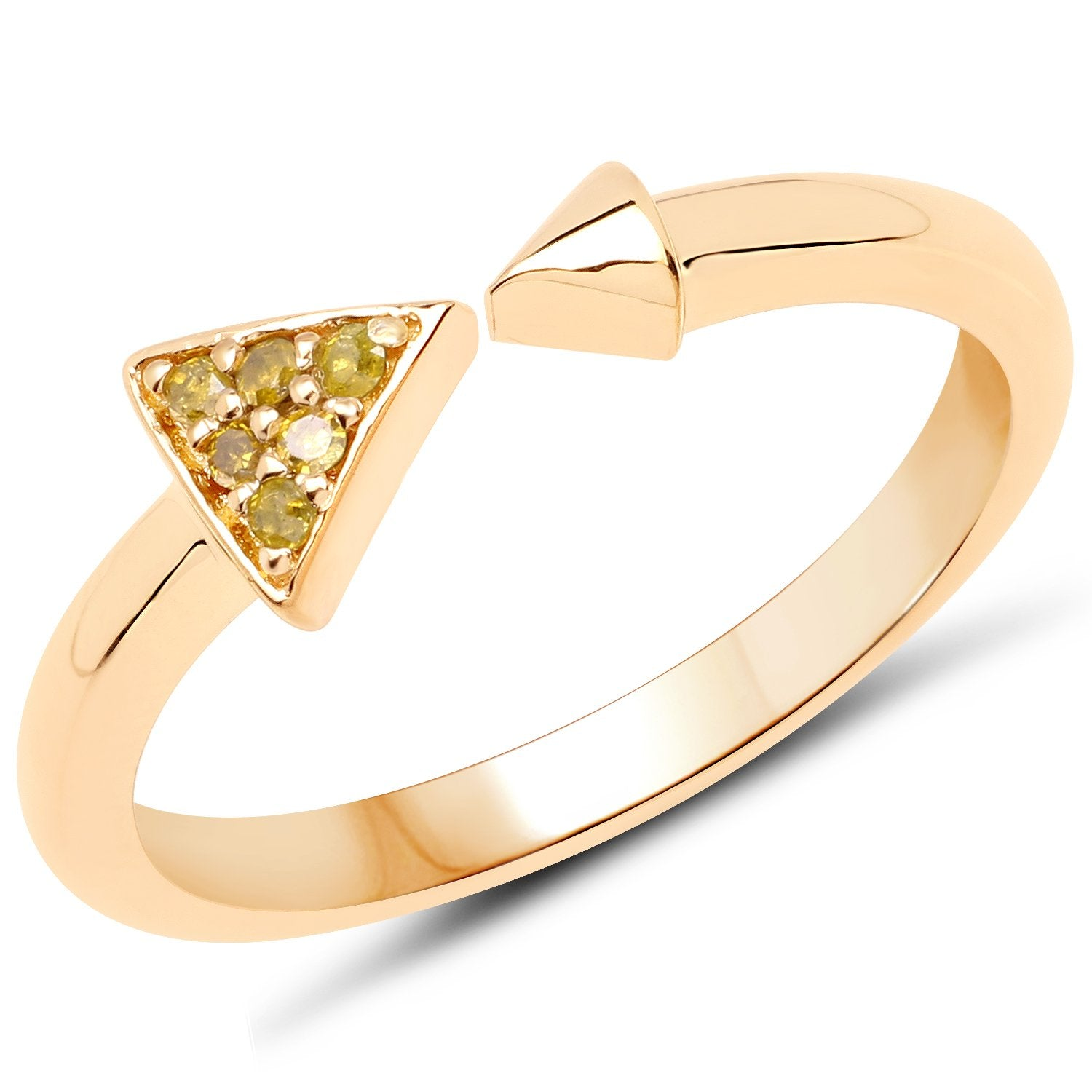 LoveHuang 0.04 Carats Genuine Yellow Diamond (I-J, I2-I3) Arrow Ring Solid .925 Sterling Silver With 18KT Yellow Gold Plating