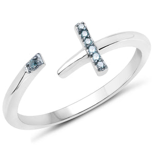 LoveHuang 0.04 Carats Genuine Blue Diamond (I-J, I2-I3) Cross Ring Solid .925 Sterling Silver With Rhodium Plating