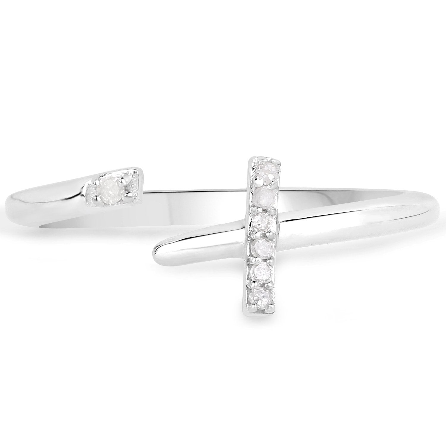 LoveHuang 0.04 Carats Genuine White Diamond (I-J, I2-I3) Cross Ring Solid .925 Sterling Silver With Rhodium Plating