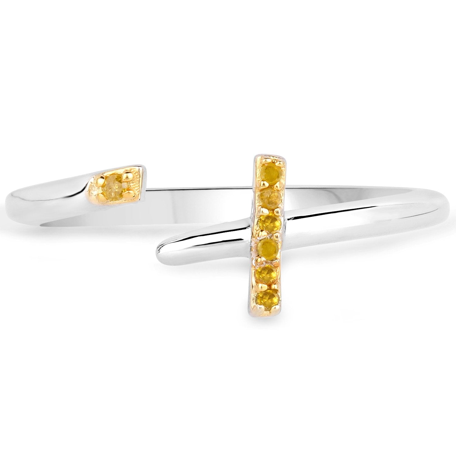 LoveHuang 0.04 Carats Genuine Yellow Diamond (I-J, I2-I3) Cross Ring Solid .925 Sterling Silver With Rhodium Plating