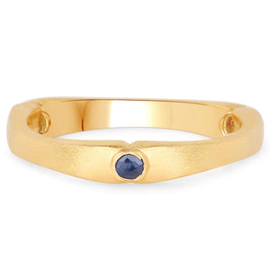 LoveHuang 0.11 Carats Genuine Blue Sapphire Matte Finish Trio Ring Solid .925 Sterling Silver With 18KT Yellow Gold Plating