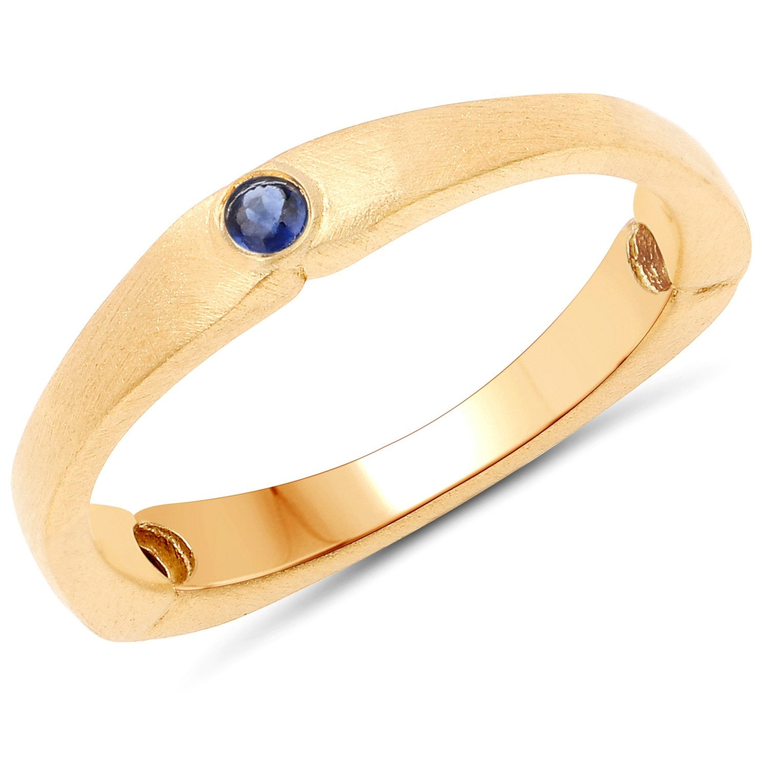 LoveHuang 0.11 Carats Genuine Kyanite Stacking Ring Solid .925 Sterling Silver With 18KT Yellow Gold Plating, Matte Finish