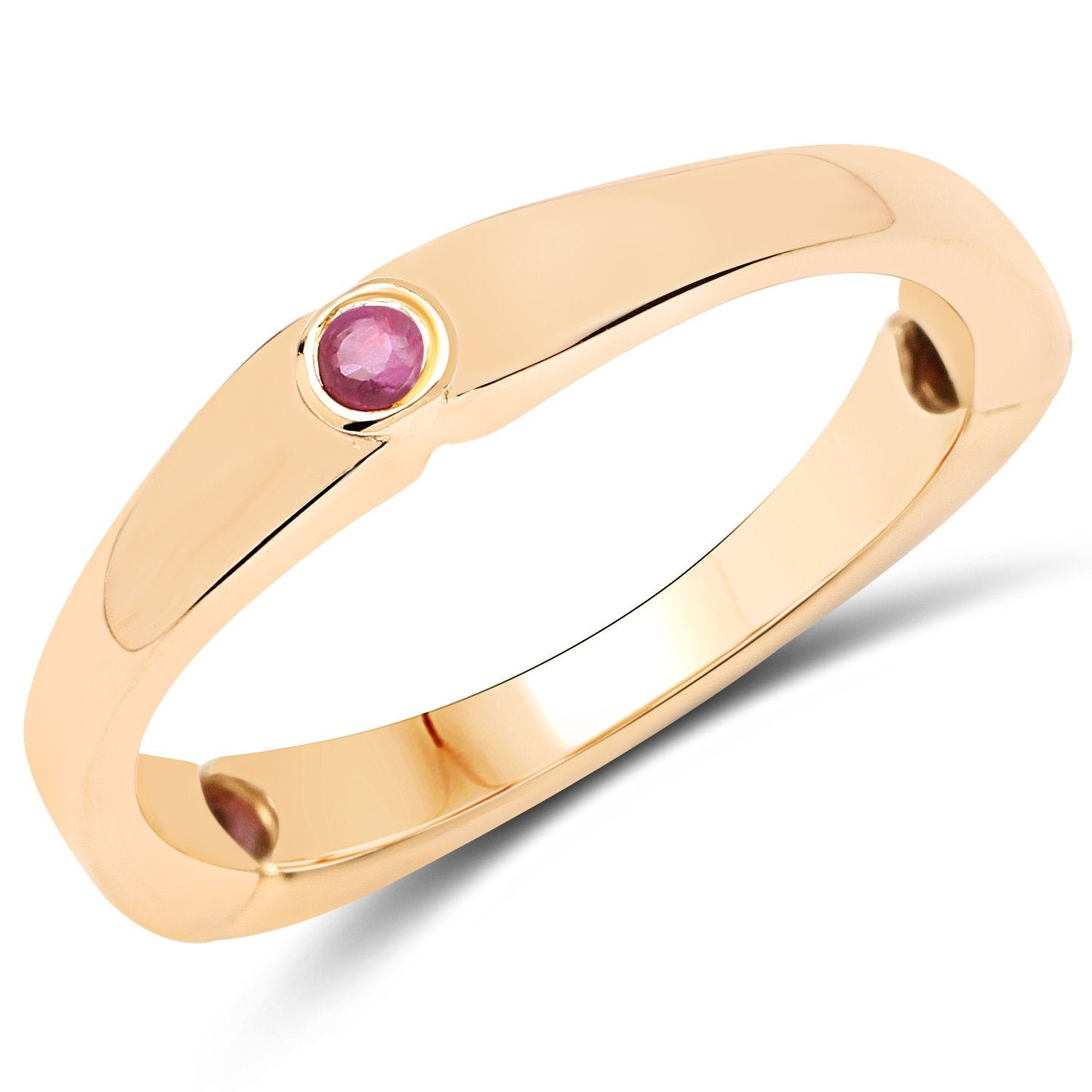 LoveHuang 0.14 Carats Genuine Ruby Matte Finish Trio Ring Solid .925 Sterling Silver With 18KT Yellow Gold Plating