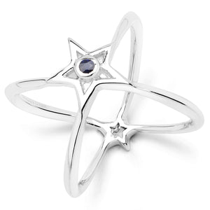 LoveHuang 0.04 Carats Genuine Blue Sapphire Infinite StarRing Solid .925 Sterling Silver With Rhodium Plating
