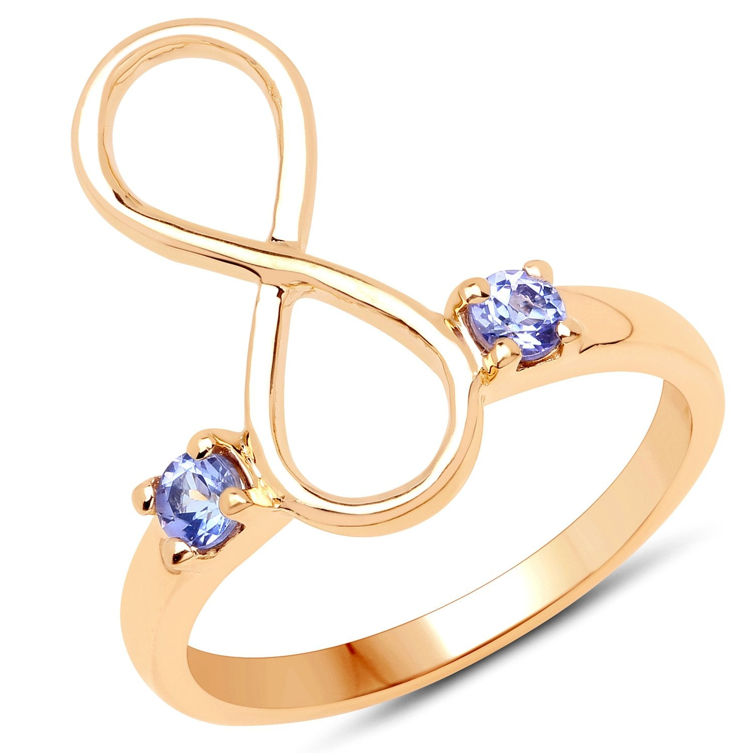 LoveHuang 0.18 Carats Genuine Tanzanite Infinity Ring Solid .925 Sterling Silver With 18KT Yellow Gold Plating