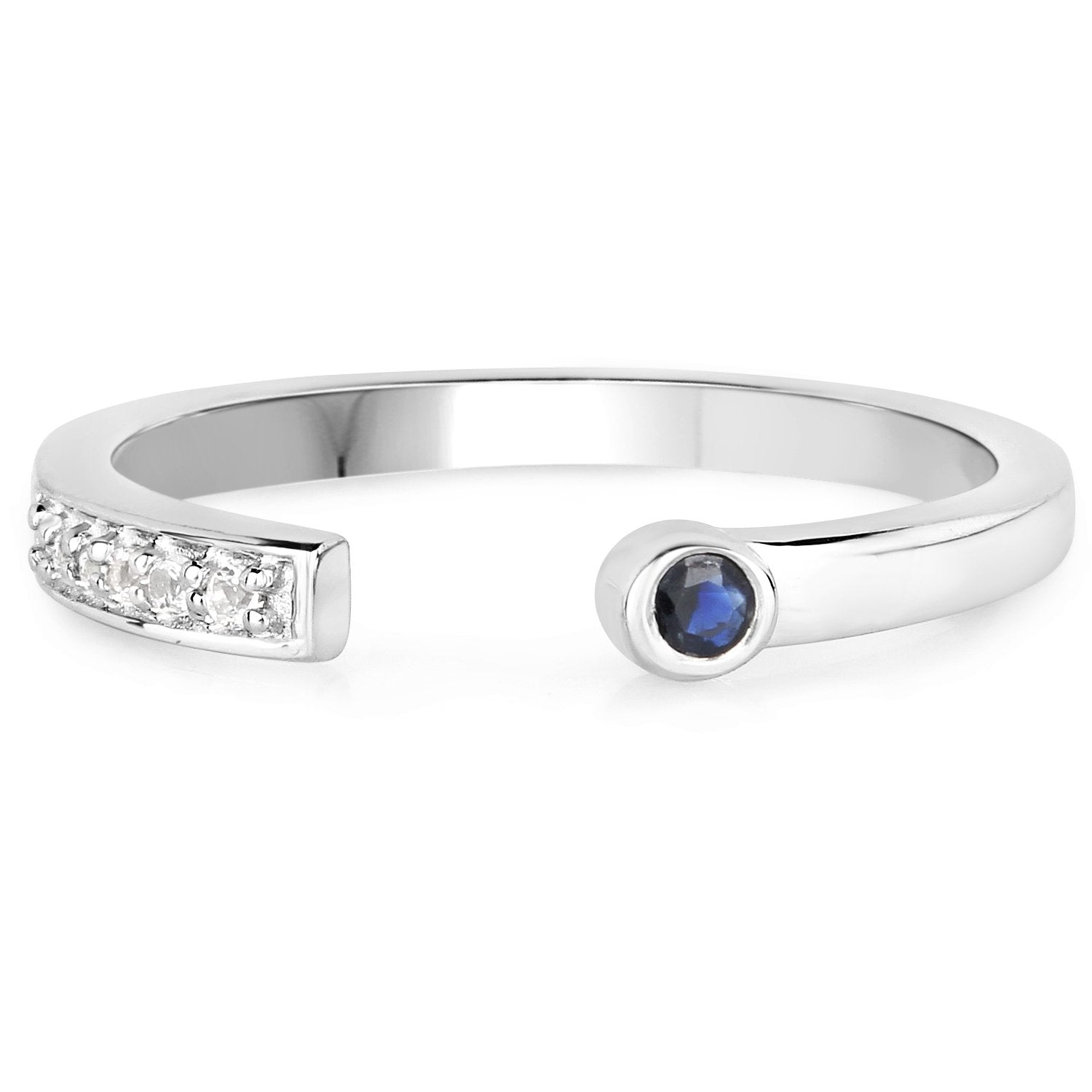 LoveHuang 0.08 Carats Genuine Blue Sapphire and White Topaz Stacking Ring Solid .925 Sterling Silver With Rhodium Plating