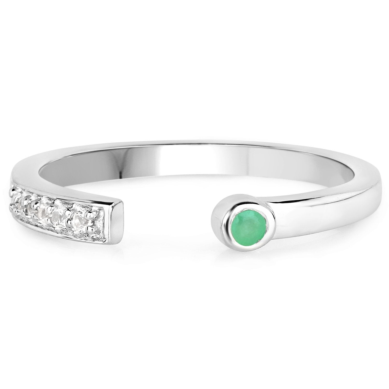 LoveHuang 0.07 Carats Genuine Emerald and White Topaz Stacking Ring Solid .925 Sterling Silver With Rhodium Plating