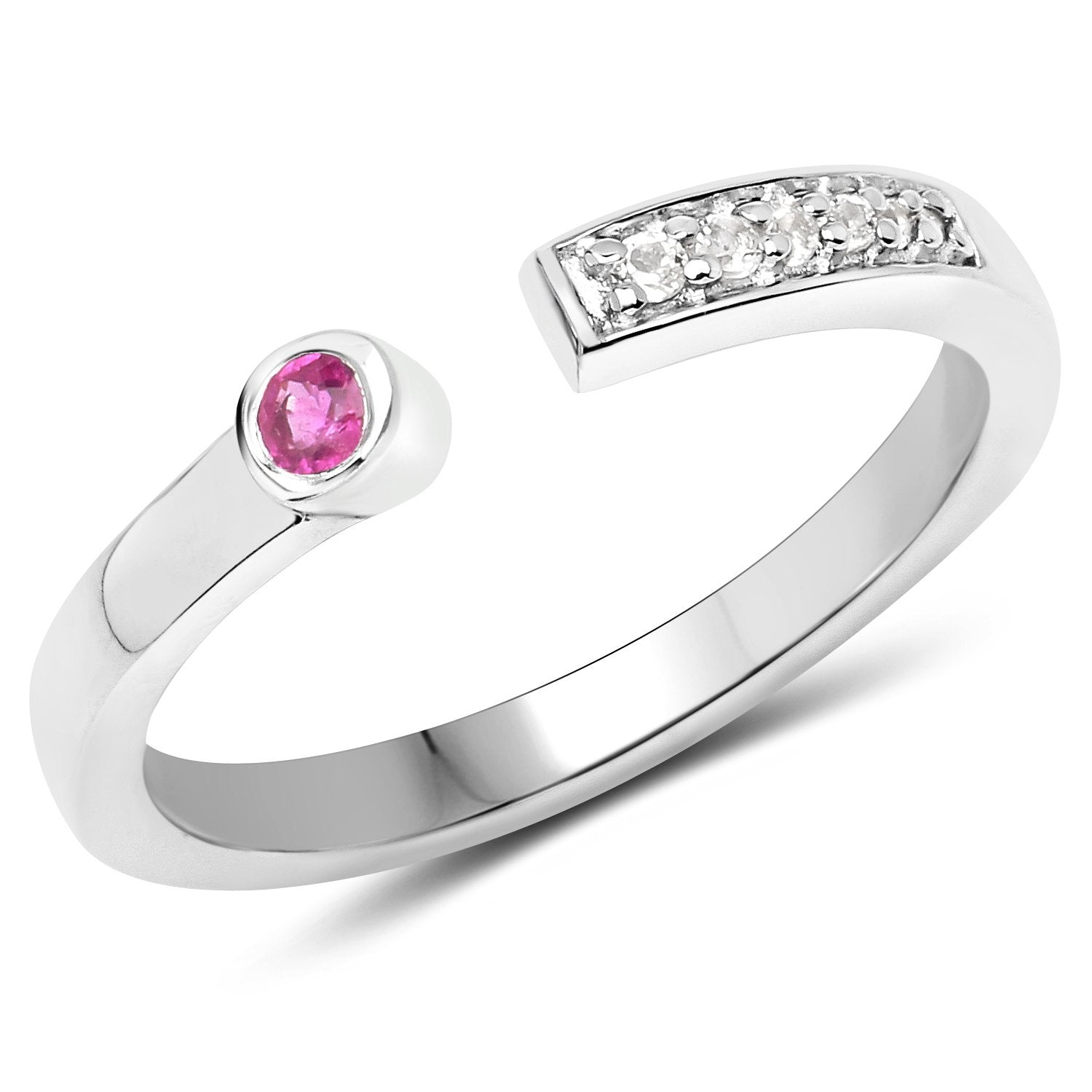 LoveHuang 0.09 Carats Genuine Ruby and White Topaz Stacking Ring Solid .925 Sterling Silver With Rhodium Plating
