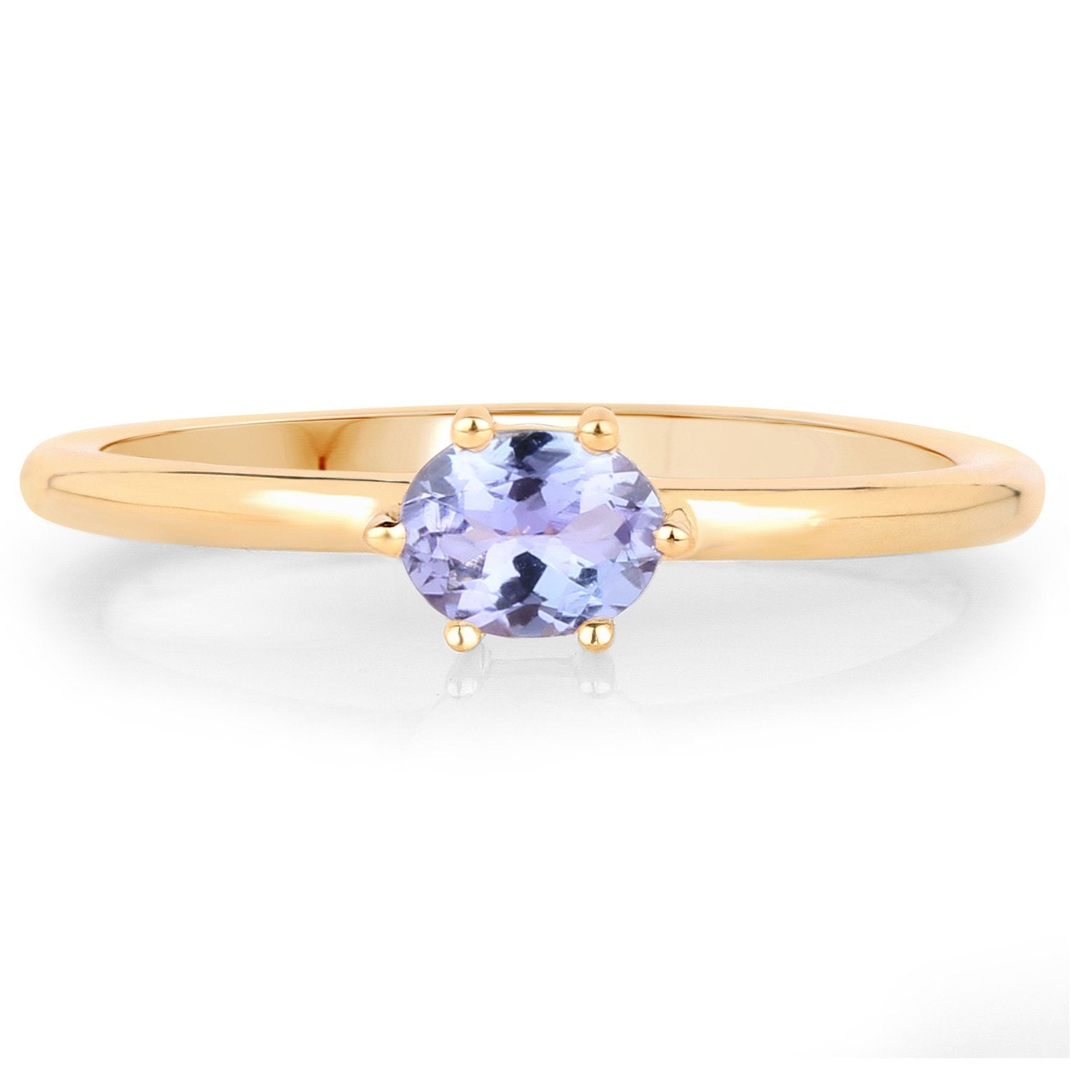 LoveHuang 0.30 Carats Genuine Tanzanite Ring Solid .925 Sterling Silver With 18KT Yellow Gold Plating