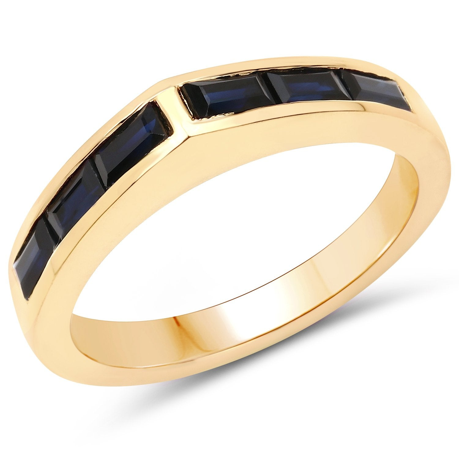 LoveHuang 0.98 Carats Genuine Dark Blue Sapphire Ring Solid .925 Sterling Silver With 18KT Yellow Gold Plating