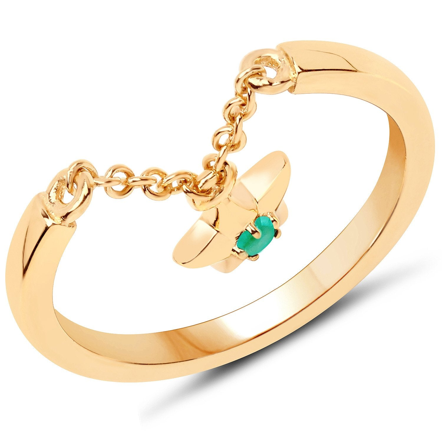 LoveHuang 0.03 Carats Genuine Emerald Dangling Star Ring Solid .925 Sterling Silver With 18KT Yellow Gold Plating