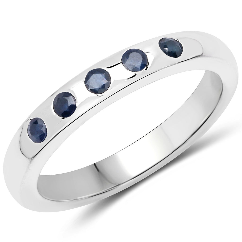 LoveHuang 0.18 Carats Genuine Blue Sapphire Stacking Ring Solid .925 Sterling Silver With Rhodium Plating