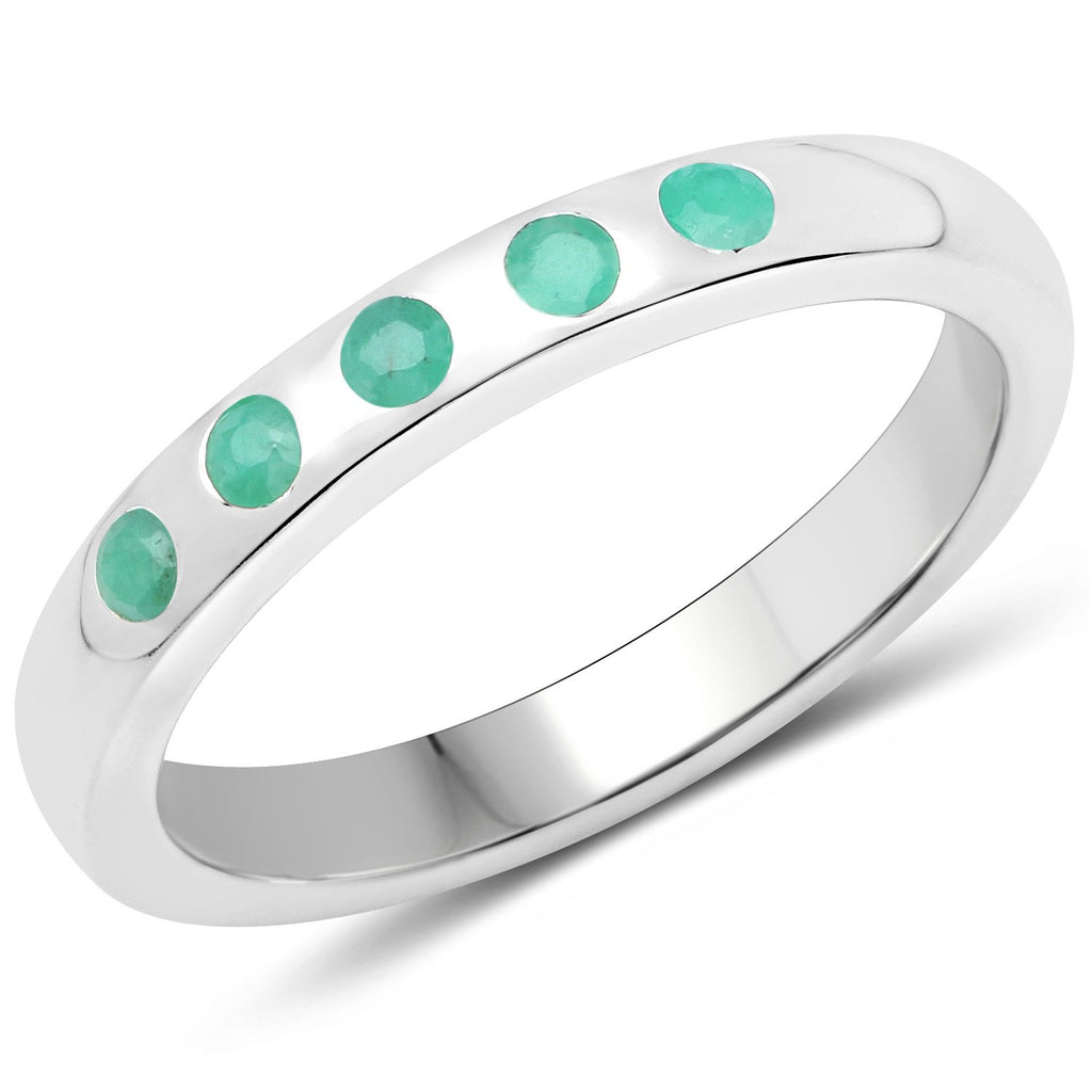 LoveHuang 0.14 Carats Genuine Emerald Stacking Ring Solid .925 Sterling Silver With Rhodium Plating