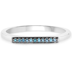 LoveHuang 0.05 Carats Genuine Blue Diamond (I-J, I2-I3) Layer Ring Solid .925 Sterling Silver With Rhodium Plating